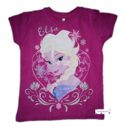 T-shirt rose Elsa Reine des...