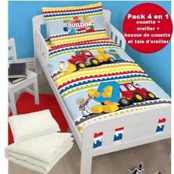 4 en 1 Lego Parure de lit housse de couette 120x150 + 1 taie + couette + oreiller pour lit bebe