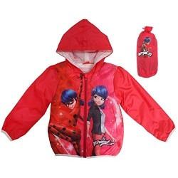 Veste rouge coupe-vent à capuche  Miraculous + pochette de rangement