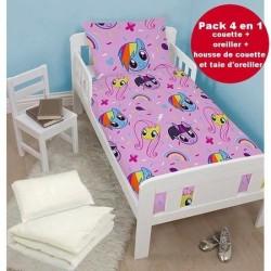 4 en 1 My little poney rose Parure de lit housse de couette 120x150 + 1 taie + couette + oreiller pour lit bebe