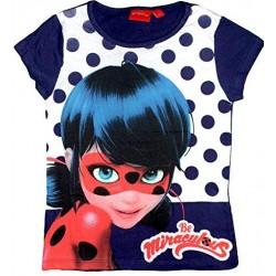 Miraculous T-shirt fille Ladybug manches courtes bleu nuit pois