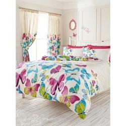 Parure de lit  Papillons multi-couleurs pour lit 2 pers housse de couette polycoton + 2 taies