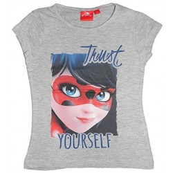 Miraculous T-shirt fille Ladybug yourself manches courtes gris