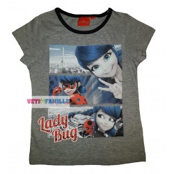 Miraculous T-shirt fille Ladybug happy manches courtes gris