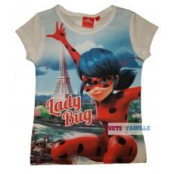 Miraculous T-shirt fille Ladybug paris manches courtes blanc