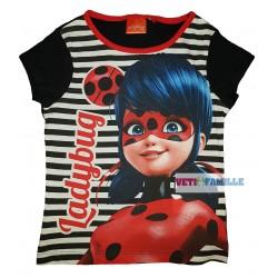 Miraculous T-shirt fille Ladybug manches courtes noir rayure