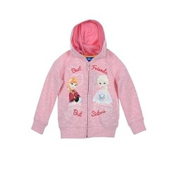 Sweat zippé gilet à capuche Frozen Reine des Neiges rose