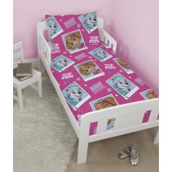 4 en 1 Pat Patrouille Stella Parure de lit housse de couette 120x150 + 1 taie + couette + oreiller pour lit bebe