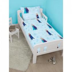 4 en 1 Reine des Neiges bleu Parure de lit housse de couette 120x150 + 1 taie + couette + oreiller pour lit bebe FROZEN