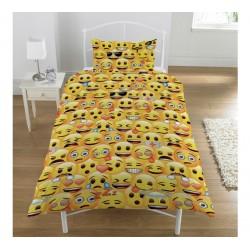 parure de lit smiley emotion pour lit 1 personne + 1 taie jaune