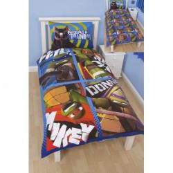 Tortue Ninja Parure de lit réversible housse de couette et taie pour lit 1 personne