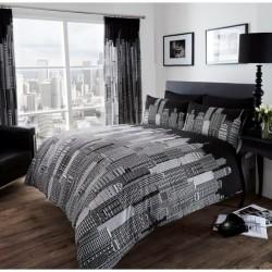 parure de lit City ville pour lit 1 ou 2 personnes polycoton 200 cm x 200 cm avec 2 taies