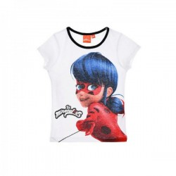 Miraculous T-shirt fille Ladybug manches courtes blanc