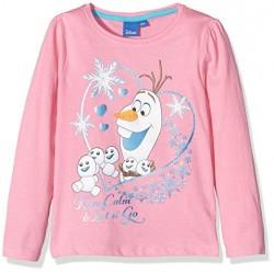 Reine des Neiges T-shirt rose manches longues OLAF fille