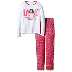 Violetta pyjama en coton long blanc et fuchsia du 6 ans au 12 ans