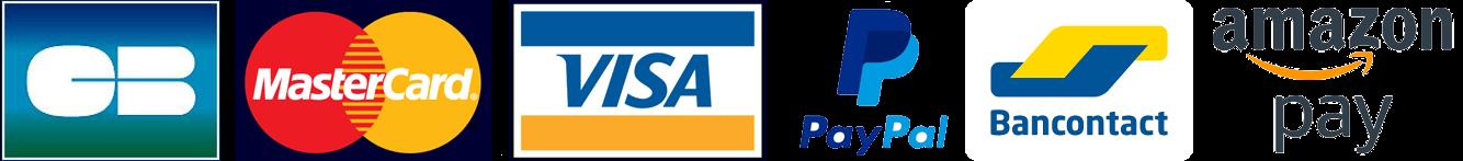 Paiement par Visa, Mastercard, PayPal, Virement bancaire, bancontact, amazon pay